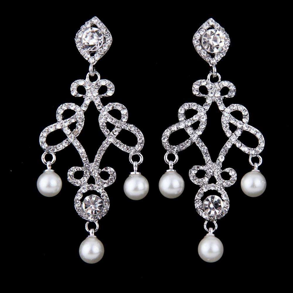Chandelier Bridal Earrings Rhinestone Art Deco