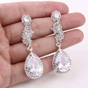 Fashion Teardrop Dangle Bridal Earrings Cubic Zirconia
