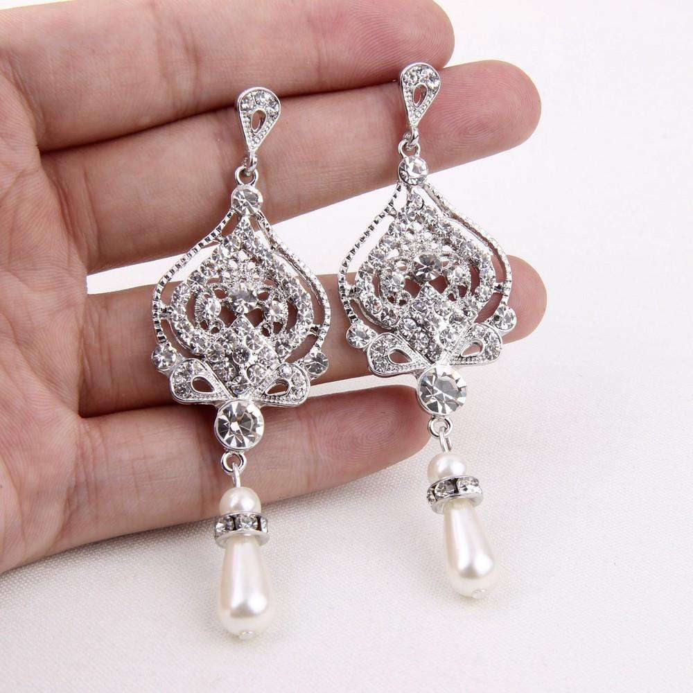 Cheap Bridal Jewelry Pearl Crystal Earrings Wholesale