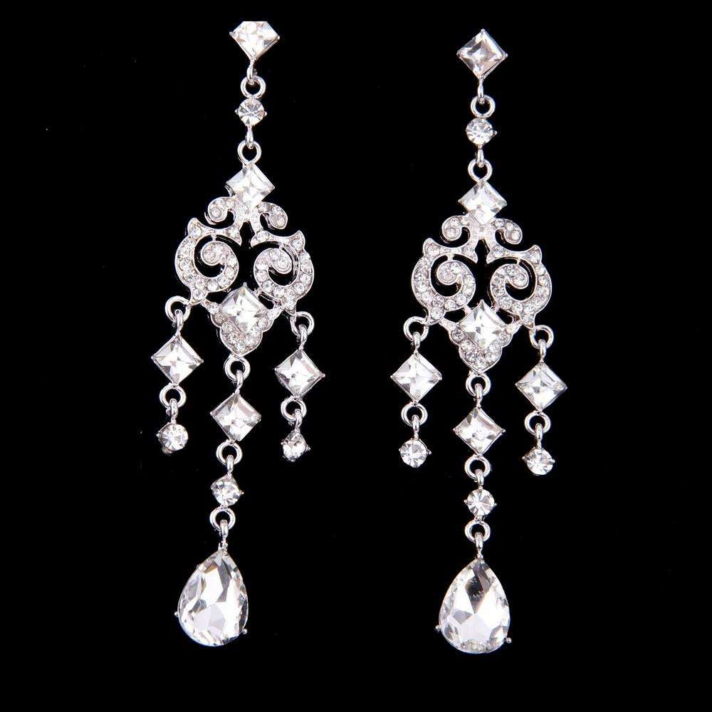 Chandelier Bridal Dangle Earrings Silver