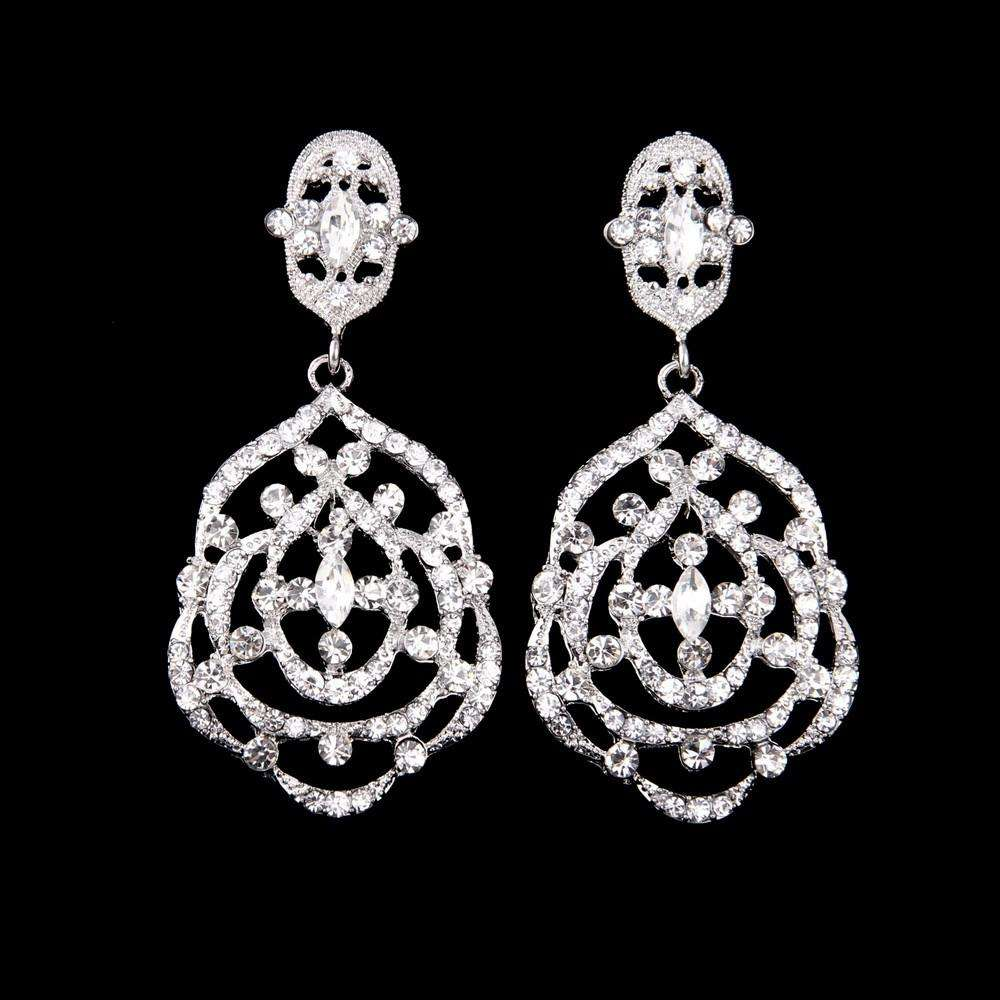 Art Deco Classic Rhinestone Bride Dangle Earrings