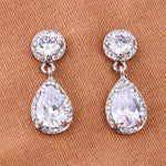 Cubic Zircon Teardrop Bridal Earrings Bridesmaid