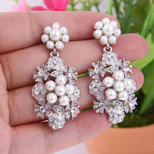 Vintage Women Bridal Wedding Earrings Pearl Flower