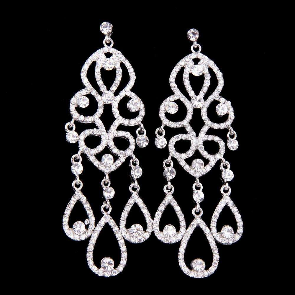 Chandelier Teardrop Bridal Earrings Statement Wedding
