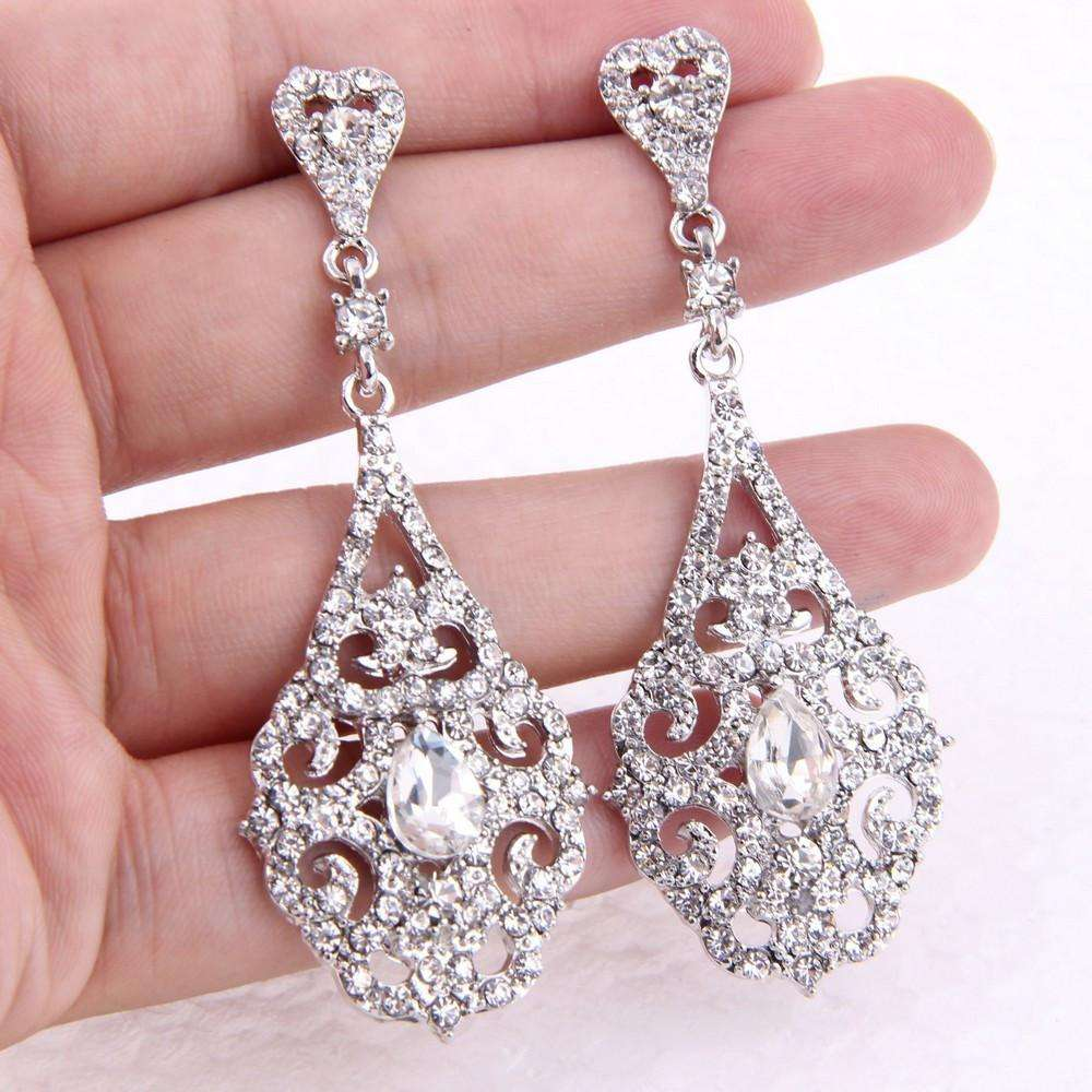 Vintage Art Deco Style Filigree Crystal Bridal Earrings
