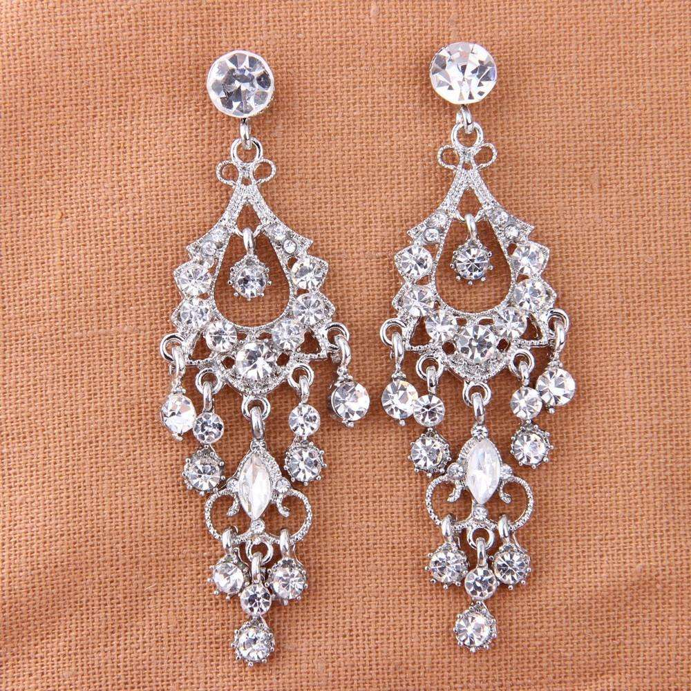 Dangle Chandelier Bridal Earrings Vintage Art Deco