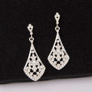 Clear Rhinestone Women Bridal Dangle Earrings Silver