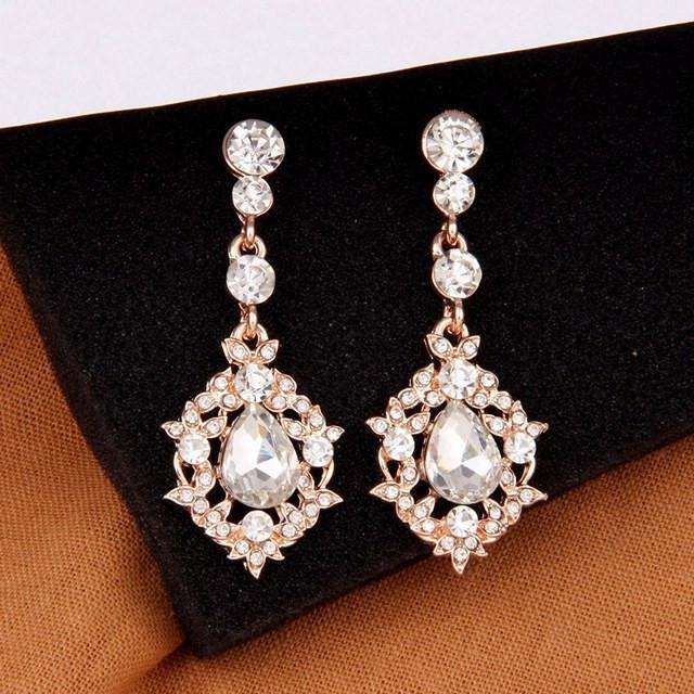 Clear Crystal Rose Gold Teardrop Dangle Earrings Women Fashion