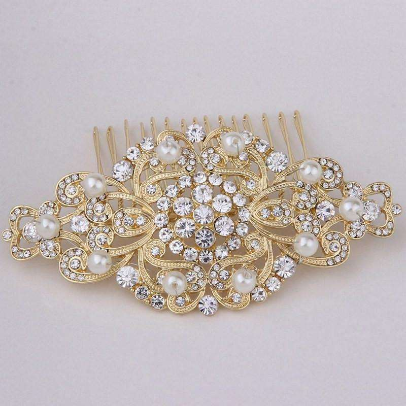 Gold Wedding Hair Comb With Rhinestones and Pearls