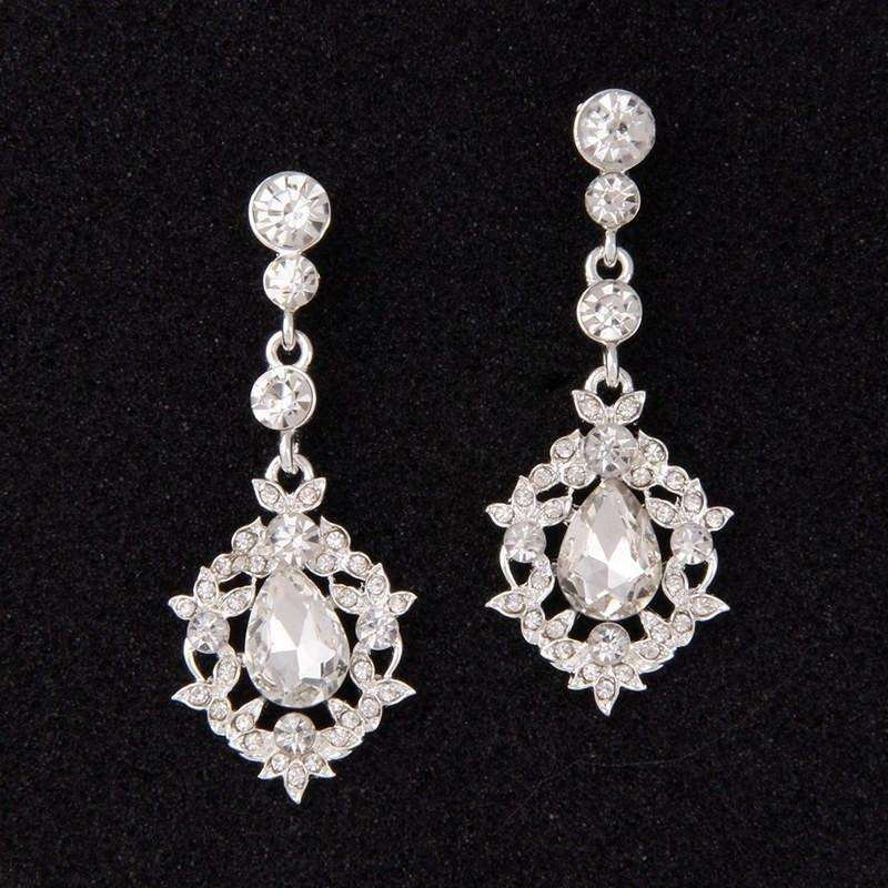 Silver Fashion Clear Crystal Bridal Dangle Earrings