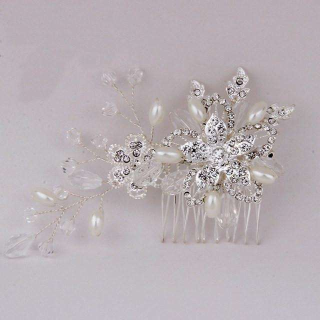 Handmade Pearl Crystal Bridal Wedding Hair Vine Comb Silver