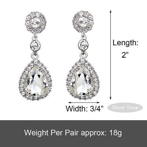 Silver-Tone Teardrop Austrian Crystal Dangle Bridal Earrings