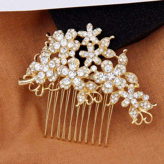 Rhinestone Bridal Hair Comb Gold Wedding Hair Accessories