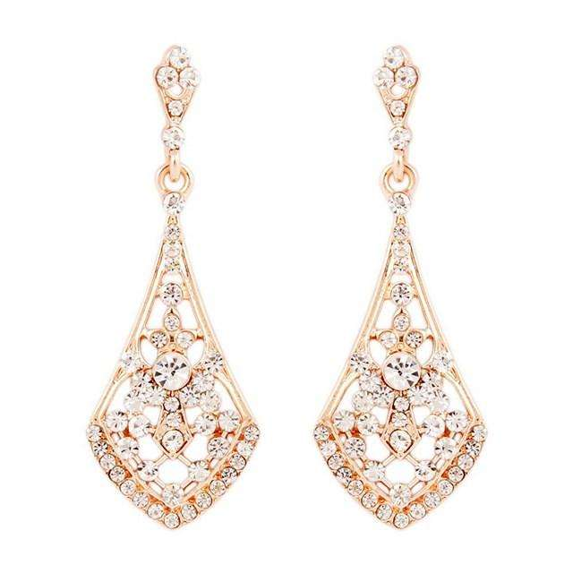 Rose Gold Bridal Earrings Dangle Art Deco Vintage Wedding