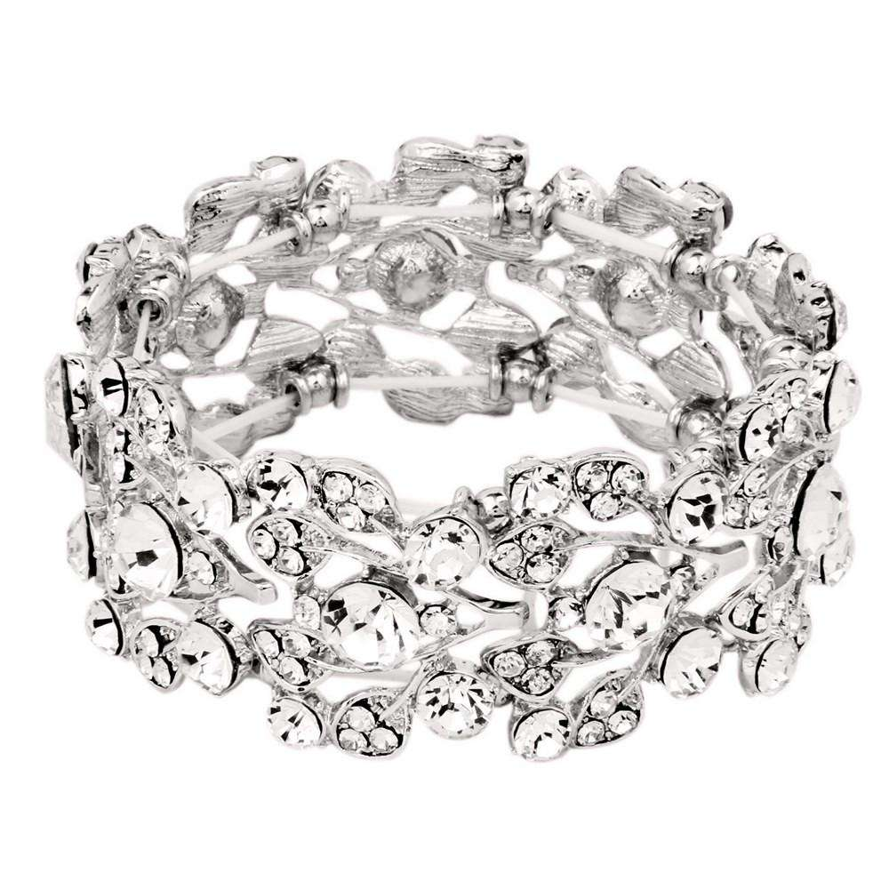 Women Crystal Elastic Stretch Wedding Bracelet Bangle Silver