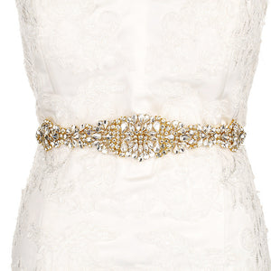"Gold Bridal Sash Belt Rhinestone Wedding Accessories - ""Jessica"""