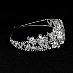 Lux Handmade Pearl Crystal Bridal Headband Wedding