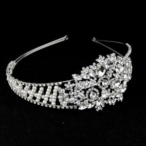 Women Wedding Bridal Crystal Pearls Tiara Headband Floral