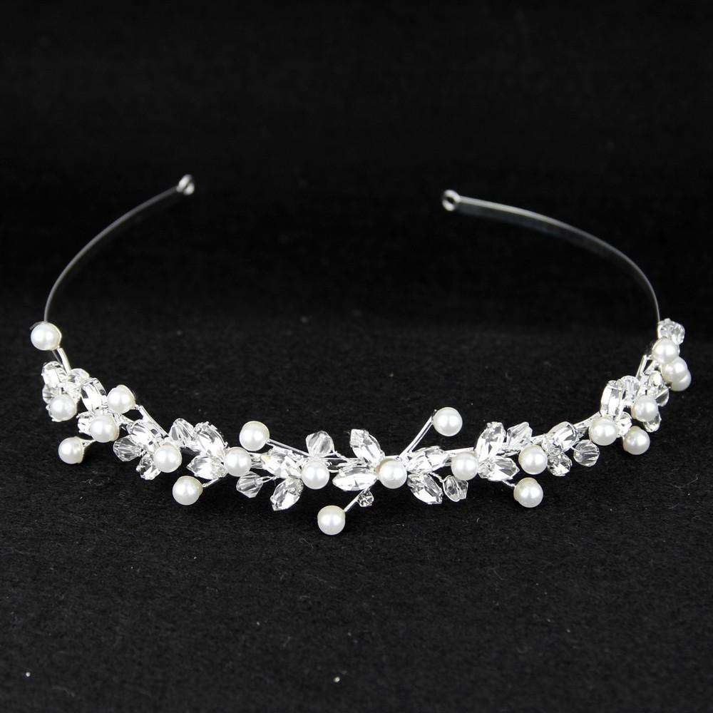 Pearl and Crystal Leaf Bridal Headband Hair Vine