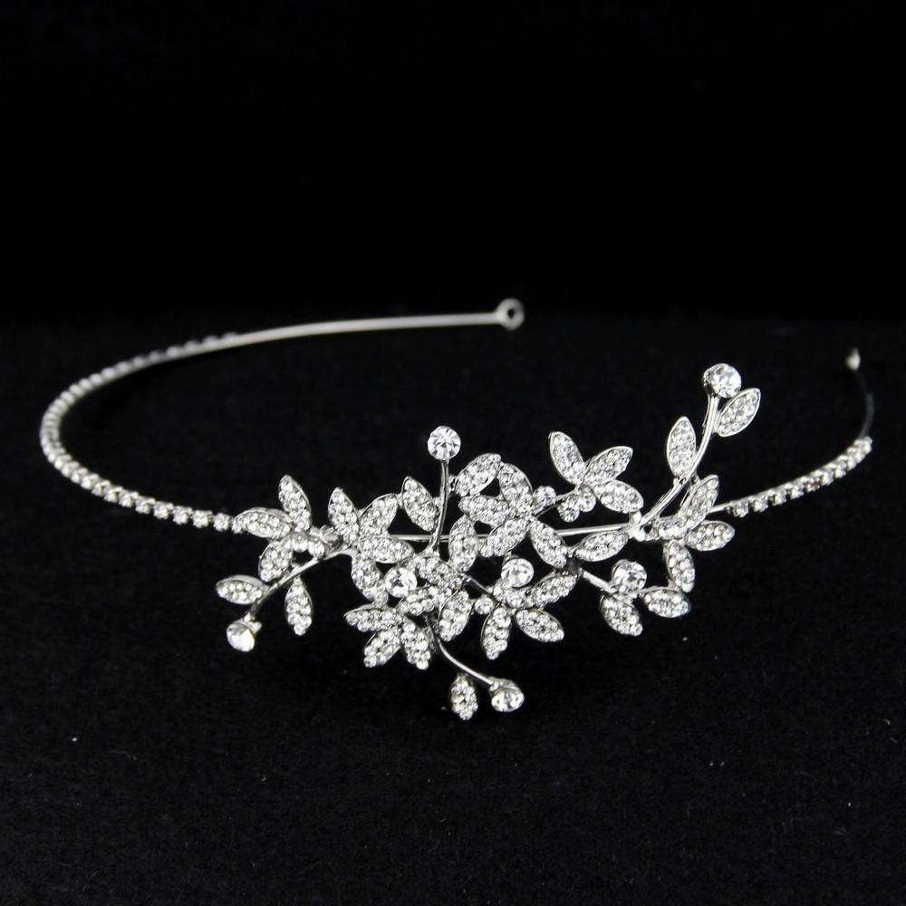 Rhinestone Floral Leaf Bridal Tiara Wedding Headband