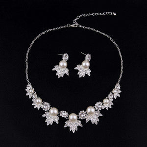 Floral Rhinestone Wedding Necklace Earrings Set Pearl