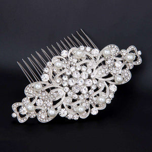 Bridal Hair Comb With Pearl Vintage Art Deco Silver