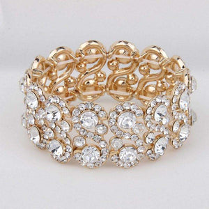Gold Bridal Bracelet Stretch Crystal Rhinestone Bracelet