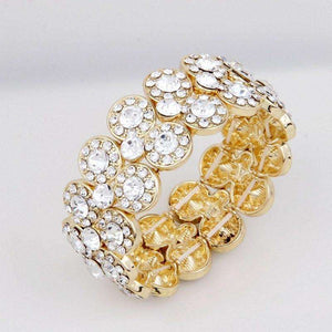 Women Stretch Gold Bridal Rhinestone Statement Bracelet