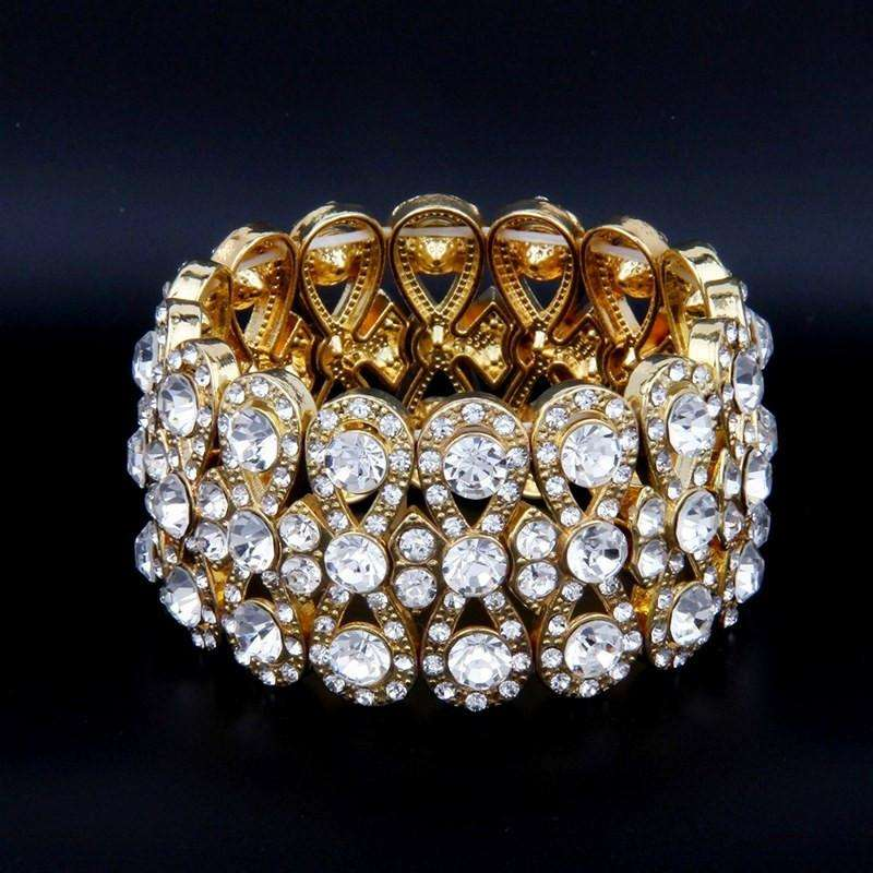 Wedding Bridal Bracelet Gold Stretch Rhinestone for Women