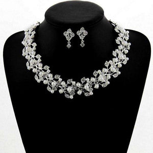 Women Statement Bridal Jewelry Sets Pearl Leaf