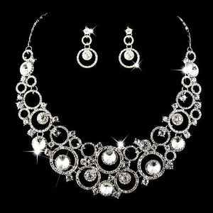 Circle Crystal Bridal Jewelry Necklace Earring Sets