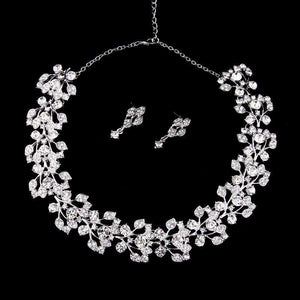 Austrian Crystal Bridal Leaf Jewelry Set Silver