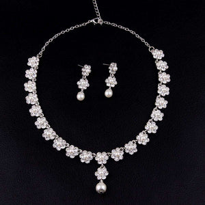 Floral Wedding Prom Jewelry Sets Crystal Pearl