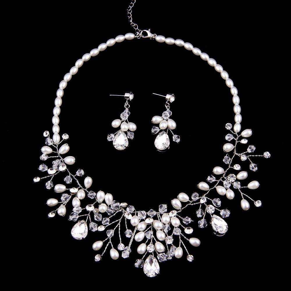 Luxury Wedding Bridal Jewelry Sets Statement Necklace Earrings