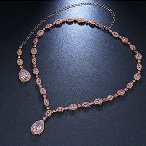 "Luxurious wedding jewelry rose gold bridal necklace - ""Teresa"""