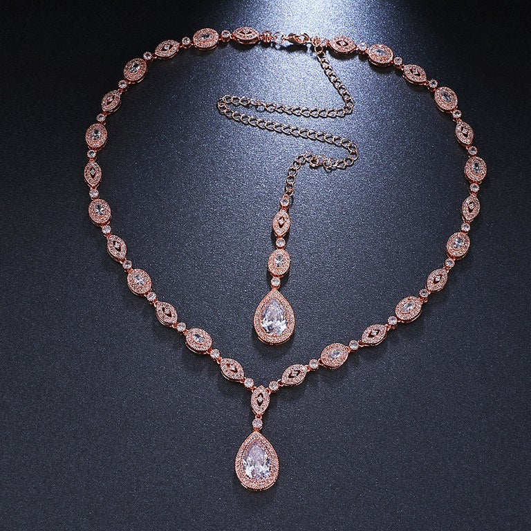 rose gold wedding jewelry bridal necklace bridesmaid jewelry