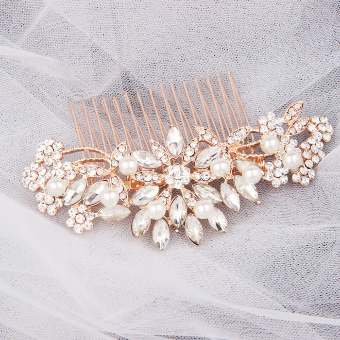 "Pearl & Crystal Rose Gold Hair Comb For Bride - ""Rebecca"""