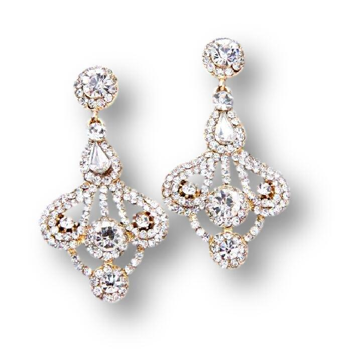 Rhinestone Bridal Dangle Earrings Gold