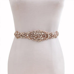 "Rose Gold Bridal Belt Rhinestone Wedding Sash Belt  - ""Rebecca"""
