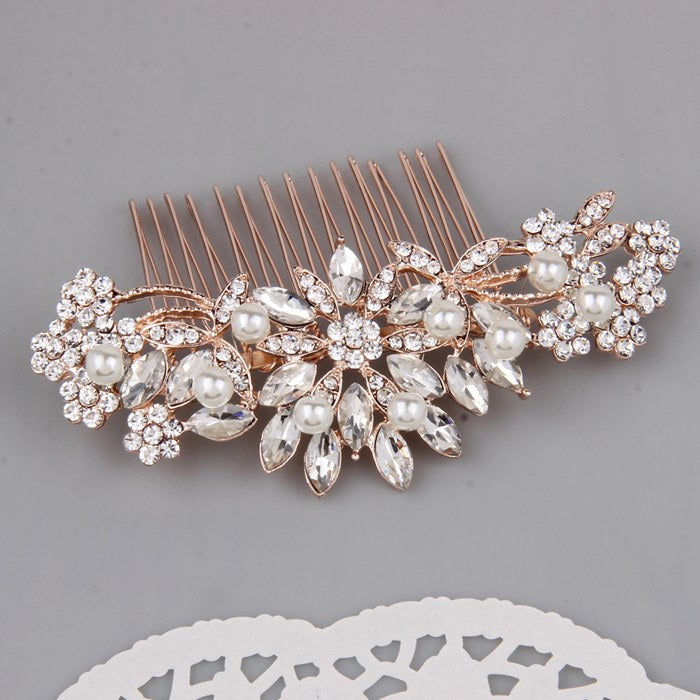 "Rose Gold Bridal Hair Accessories Crystal Pearl Hair Comb ""Melinda"""