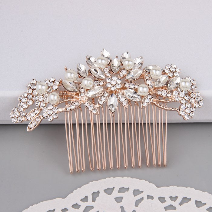 Rose Gold Bridal Hair Accessories Crystal Pearl Hair Comb Melinda