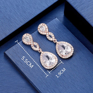 Rose Gold CZ Teardrop Wedding Bridal Earrings