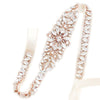 "SHORT Bridal Belt Rose Gold Skinny Crystal Wedding Sash - ""Isabel"""