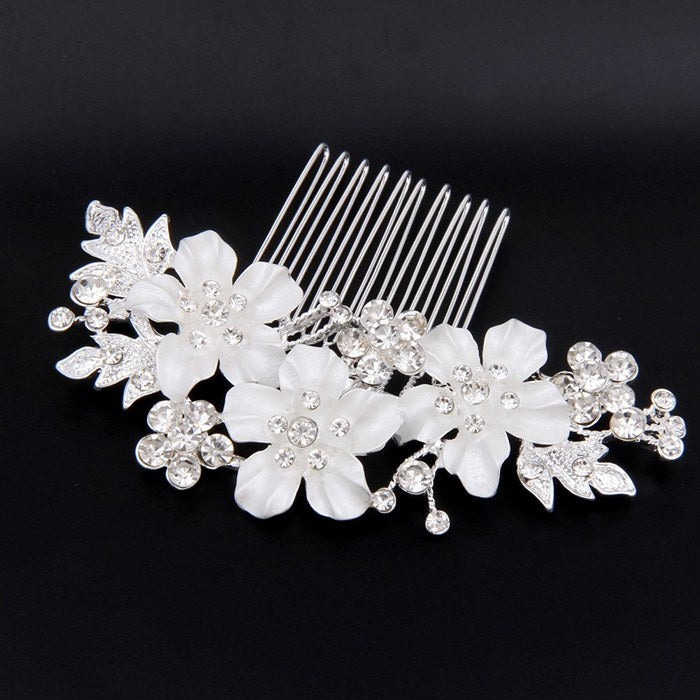 "Silver Flower Bridal Hair Comb For Wedding ""Fiona"""