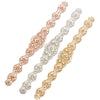 "Silver & Rose Gold Bridal Belt Rhinestone Pearl Wedding Sash - ""Megan"""