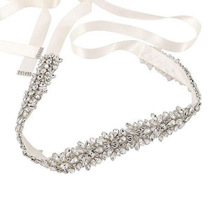 "Silver Wedding Belt Sash Rhinestone Bridal Belt- ""Heather"""