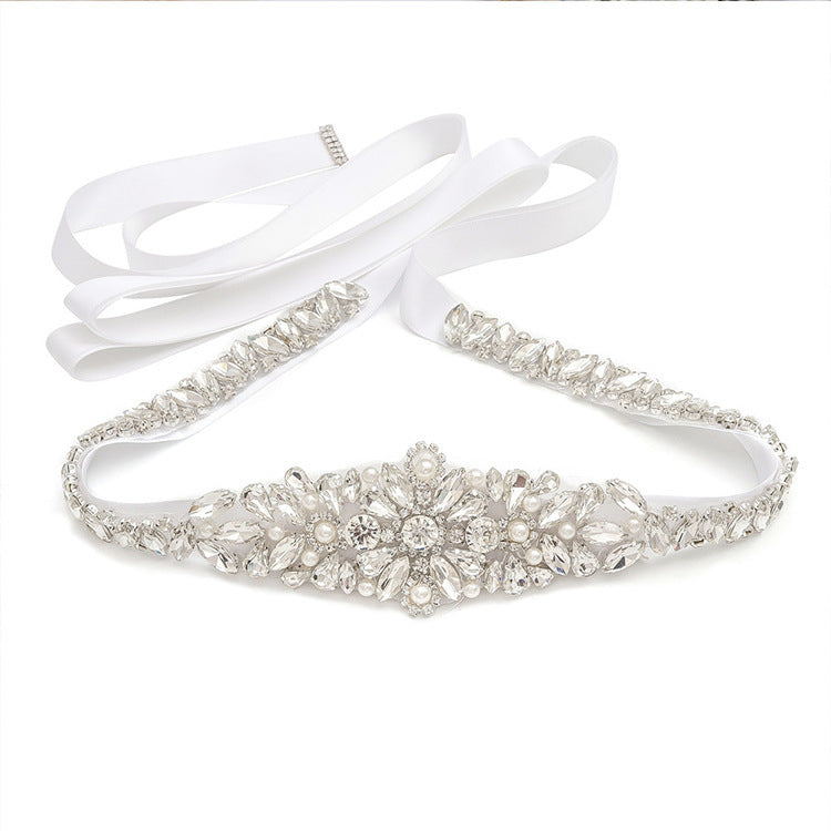 "LONG Skinny Silver Wedding Belt All Around Bridal Belt - ""Britney"""