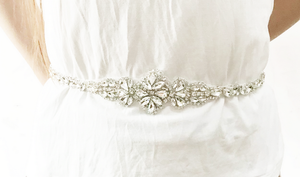 "Gold bridal belt rhinestone thin wedding dress belt - ""Jaida"""