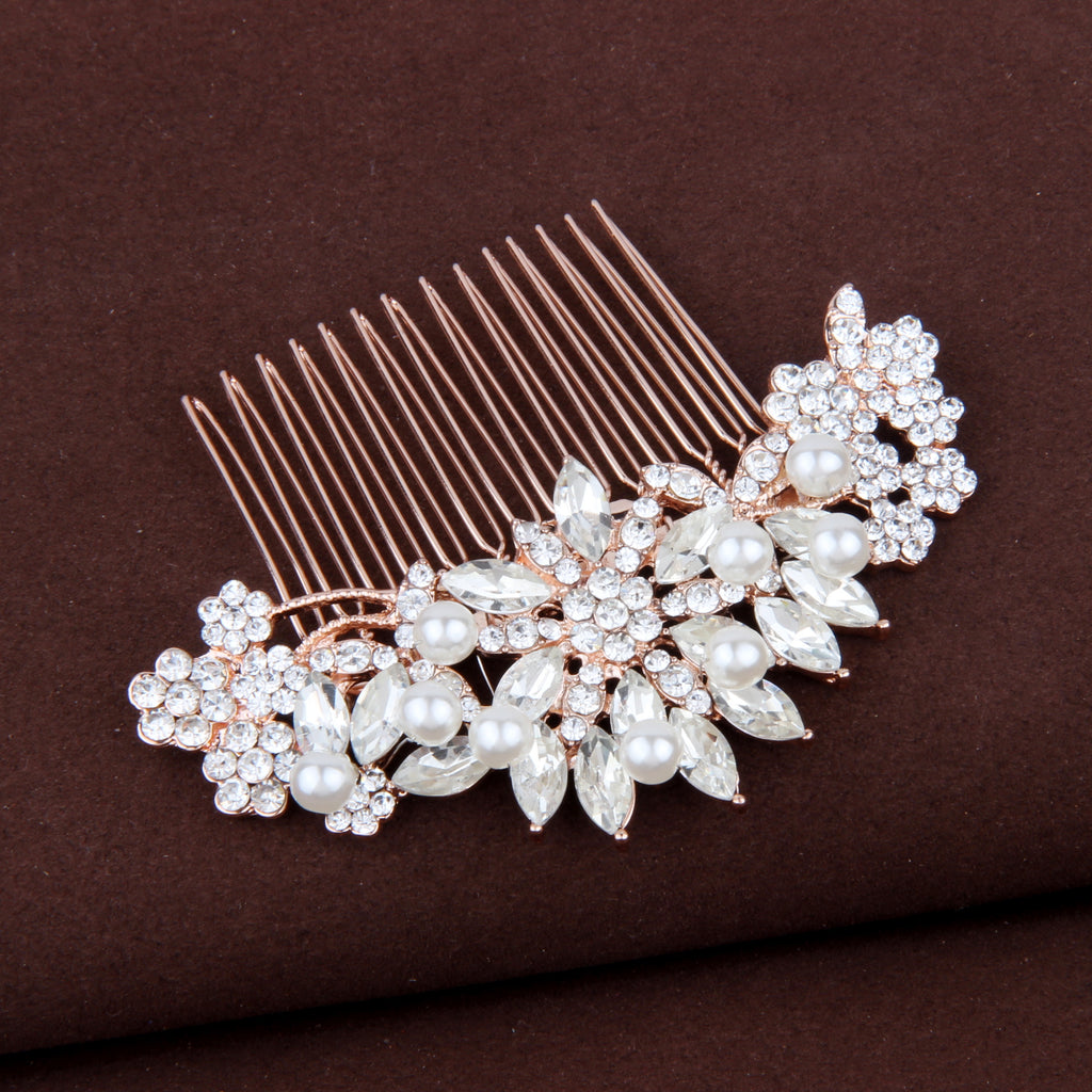 "Wedding Crystal Pearl Hair Comb Rose Gold ""Taylor"""
