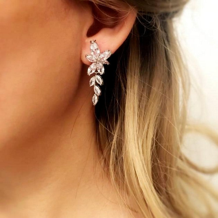"Women Chandelier CZ Earrings Bridesmaid Gift - ""Maclean"""